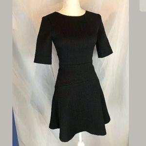 Club Monaco Fit & Flare Textured Black Dress 00